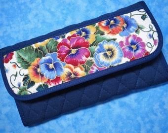 Women Wallet - Clutch Wallet Fabric Wallet Pansy Vegan Wallet Quilted Wallet Cloth Wallet Organizer Wallet Ladies Wallet Long Wallet Velcro