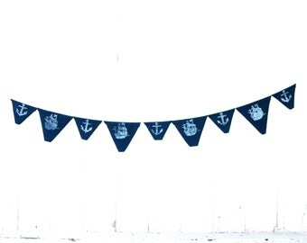 SALE Navy Blue White Anchor Ship - Eco Friendly Fabric Bunting - Flag - Banner - Nautical -  Organic Home Decor - Boys Room