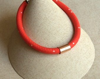 Bright Red Fabric Rope Necklace with Copper Accent