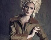 Gold Crystal Pearl 'Golden Regina' Kokoshnik Couture Opulent Headdress