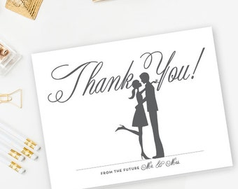 Grey, Newlywed - Future Mr. and Mrs. - Wedding, Engagement Thank You Cards