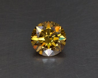 Moissanite Fancy Orange Brown Standard Round Brilliant Loose Modern Faceted Gemstone