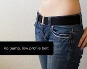 low profile black elastic belt, no bump belt - one size fits most