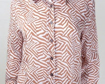 1980s Hi-Lo Hem Brown and White Patterned Oversized Shirt Size 12 /14