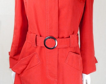 Original 1970s Vintage Tomato Red Jacket UK Size 16/18