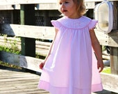 Girls Monogrammed Pink Seersucker Dress --  Perfect for Beach Photos