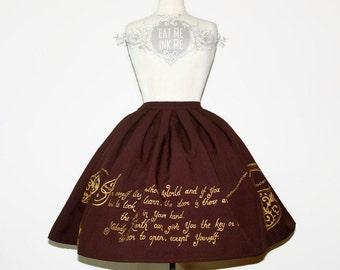 HANDPAINTED script print SKIRT | steapunk gold silver calligraphy print gothic classic lolita pleated skirt motivational quote statement