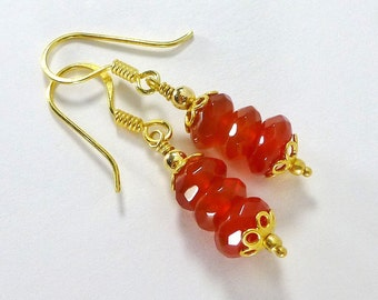 Carnelian Earrings, Orange Stone Earrings, Beaded Gemstone Earrings
