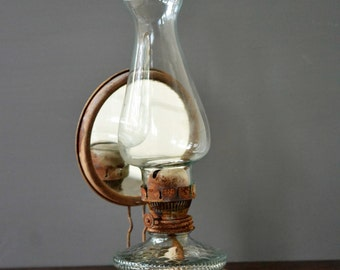 Vintage Glass Hurricane Lamp Globe Etsy