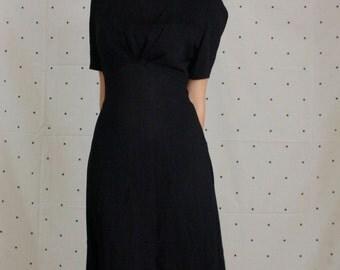 1940s Black Dress//Rockabilly 1940s Pleated Bodice// 1940s Rayon dress// Pinup Dress// VLV Black Dress