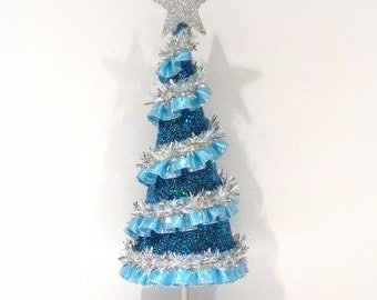 Christmas Decoration,  Blue Christmas Tree, Table Top Tree, Mantle Decoration, Holiday Decor, Blue Tree, Blue Christmas Decor, Mini Tree
