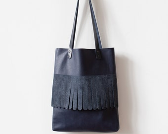 Rounded Fringe Navy Blue Tote bag No.Tl- 6025 festival tassel