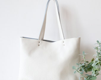 Large White Leather Tote bag No. Ltb-102