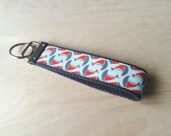 Fabric wristlet keychain, key fob - Sailboats