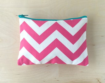 Zipper Pouch in Pink Chevron