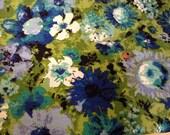3 1/3 Yards Vintage Flower Power Bark Cloth Yardage Green & Blue Fabric
