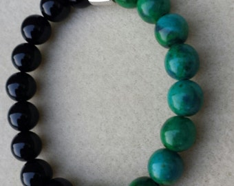 Mens  Chrysocolla and Black Agate Mala Handmade Bracelet,peace, wisdom,clarity,grounding,Father's Day, power,chakra,yoga, racelet,mala stack