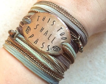 This too shall pass- Boho Silk Wrap Bracelet- boho wrap bracelet- wrap bracelet- ribbon bracelet- encouraging gift, this too shall pass,