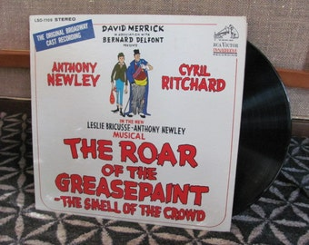 """Vintage """"The Roar of the Greasepaint"""" Original Broadway Cast Recording Vinyl Record Album - 1965 - Musical - Anthony Newley - Cyril Richard"""