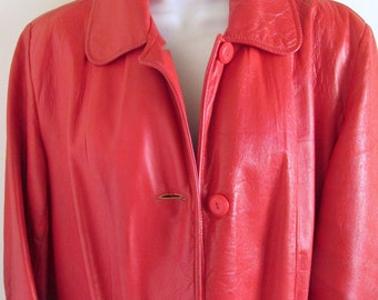1950s Rockabilly Red Leather coat / woman's car-coat style / hip length / rare / Lucy / RnR