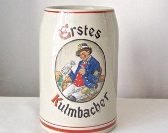 Vintage Beer Stein Beer Mug Tavern Souvenir Hotel Erstes Kulmbacher West Germany Man Cave Vintage 1980s