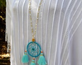 2 DAY SALE! Hippie Chic Dream Catcher Tassels Turquoise Long Beaded Necklace Jewelry