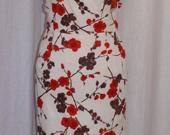 Vintage 1950s floral print hourglass wiggle dress XL rockabilly VLV