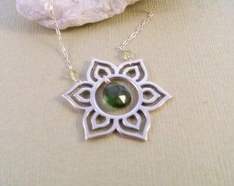 Yoga Sun Salutation & Green Tourmaline Necklace~Yoga Spirit~Earth