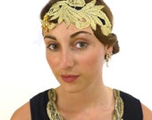 Gold Flapper Headband Art Deco Hair Band Metallic Accessory Headpiece Hair Band Fascinator 1920s Gypsy Hippie Folk Bandeau Charleston :LULU