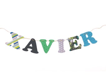 Custom Name Banner ~ Fabric Banner ~ Fabric Letters ~  Photo props ~ XAVIER Collection