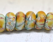 lampwork - white onyx over copper green...big hole beads...dread beads....Euro style glass SINGLE charm, SRA handmade P13116-6