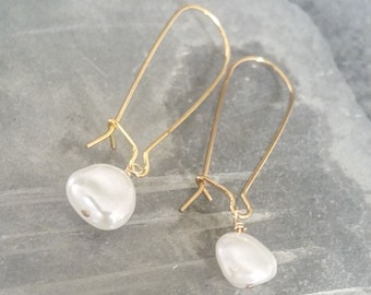 Gold Keshi Pearl Hoop Earrings