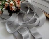 "3/4"" wide Powder Gray soft pastel plush back lingerie satin elastic / silver stretch satin ribbon"