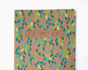 Blank cookbook, recipe book, family recipe book, blank recipe book moleskine, gifts for mom, foodie gifts, chef gift, bridal shower gift