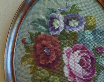 Roses Needlepoint Petit Point Framed Picture. Vintage 1940s. Wood Oval Picture Frame. Cottage, Shabby Chic Decor. Pink Green Purple Flowers.