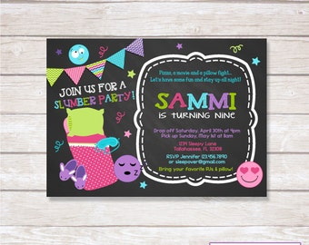 CHALKBOARD SLEEPOVER PAJAMA Party Birthday Invitation Printable