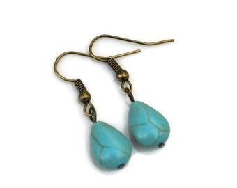 Turquoise Teardrops . Earrings