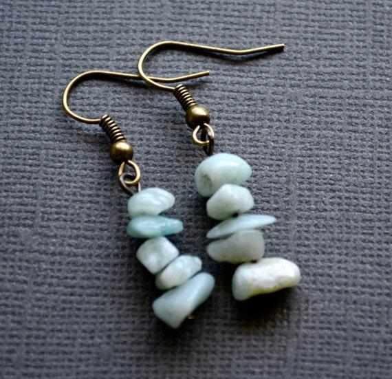 Amazonite Gemstone Chips . Earrings