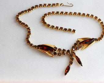 crystal insect chocker necklace, vintage amber colored rhinestones