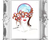 Instant Download- Blue Hat Lady fashion portrait