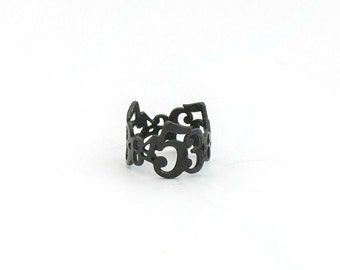Black Numbers Midi Ring, Womens Black Rings, Unique knuckle Ring, Black Pinky Ring, Black Ring, Midi Ring, Numerology Love Ring, Number Ring