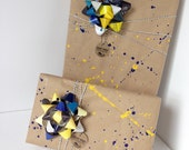 University of Michigan Wolverines maize/blue Splatter Gift Wrap gift pack / 2 bows / 30 feet twine / 2 tags