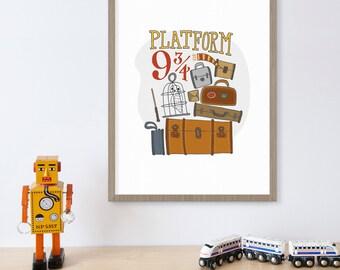 Harry Potter Platform 9 3/4, Hogwarts, JK Rowling, Gryffindor, Wizard, Owl Print, Vintage Luggage, Childrens Books, Kids Wall Art