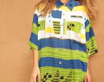 vintage women's FRESH PRINCE BAROQUE 90s slouchy oversize wild grunge blouse shirt
