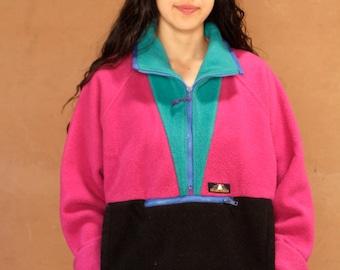 90s COLOR BLOCK neon womens SKI fleece columbia style Jacket