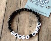 CARPE DIEM-Beaded Stretch Bracelet-Inspirational Jewelry-Seize the Day-White Letter Beads-Saying Bracelet