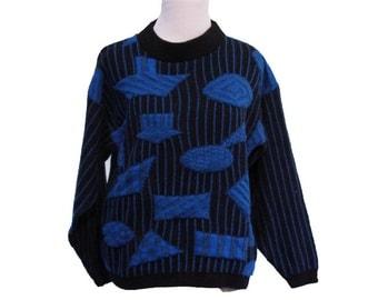 Vintage 80's Women's Geometric Sweater Blue Black Size Small