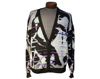 Vintage 80's Abstract Cardigan Sweater Size Medium