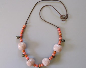Vintage Statement Necklace. 70s 80s Pink Coral Ceramic Beaded Necklace