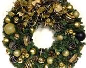 """Elegant Black & Gold Christmas Wreath Pine Wreath XL 30"""" Shatterproof INDOOR OUTDOOR"""